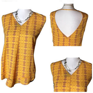 A.N.A. Yellow & Purple Sleeveles Top Size Large